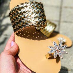 Zlaté elegantné šľapky Enrico Coveri